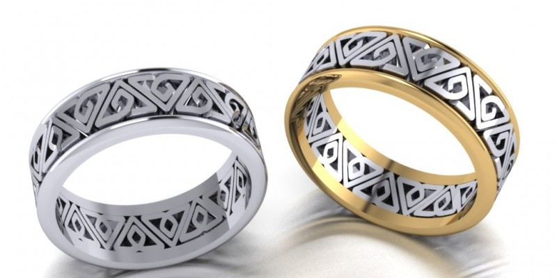 10ct Celtic Yellow and White Gold Gents Wedding Ring