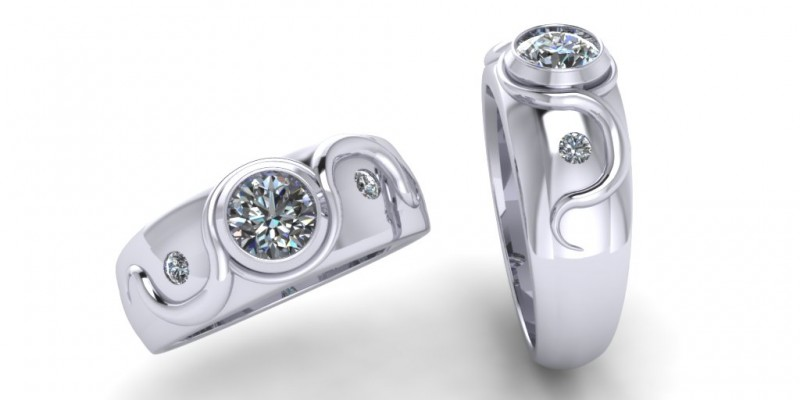 18ct White Gold 3 Stone Diamond Wave Ring