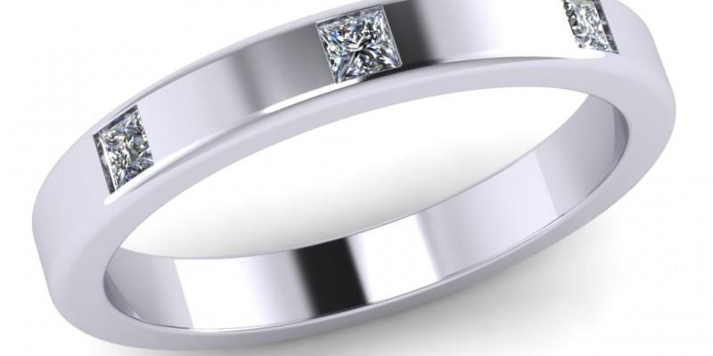 18ct White Gold 3 Stone Princess Cut Wedding Ring