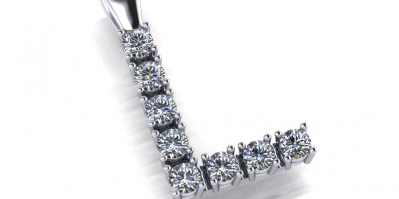 18ct White Gold 8 Stone Diamond  L Shaped Pendant