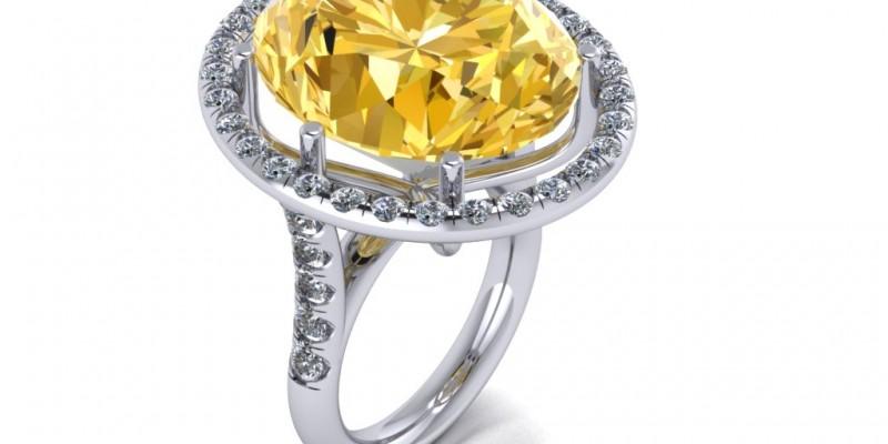 18ct White Gold Citrine and Diamond Ring