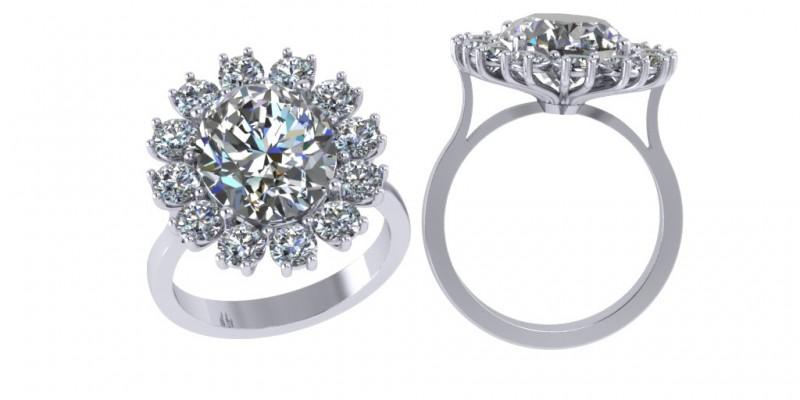 18ct White Gold Diamond Cluster Ring