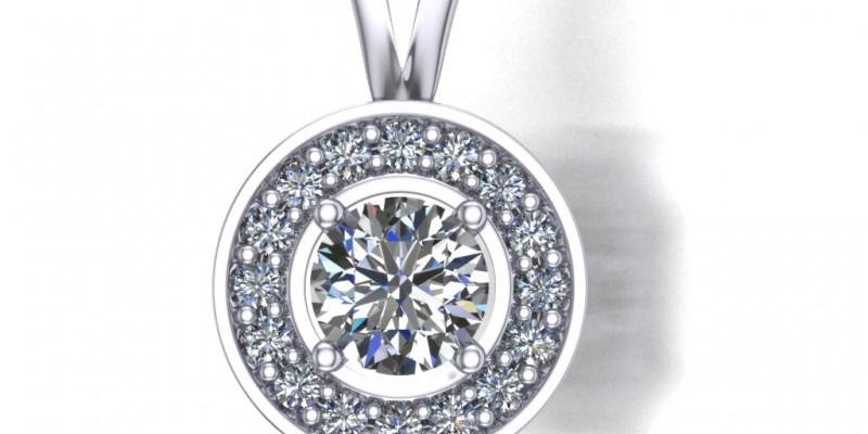 18ct White Gold Diamond Halo Pendant