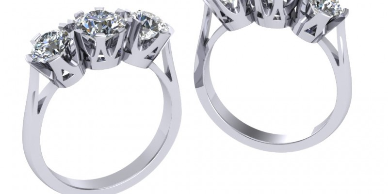 18ct White Gold Rex 3 Stone Diamond Ring