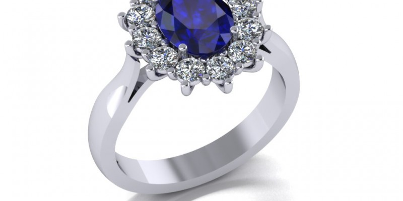 18ct White Gold Sapphire and Diamond Oval  Cluster