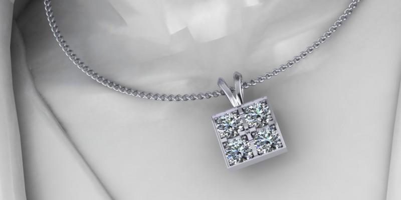 18ct White Gold Square Diamond Pendant