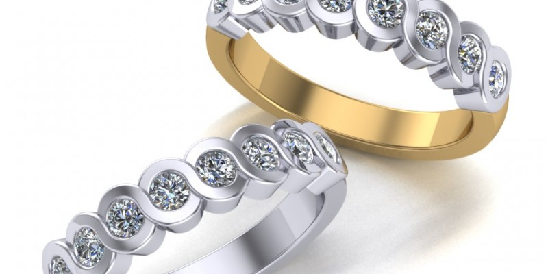 8 Stone 18ct Yellow and White Gold Eternity Ring