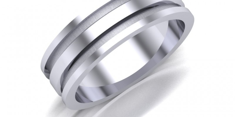 Gents WR24 White Wedding Ring