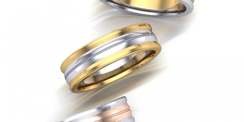 Gents WR36 Yellow White and Rose Gold  Wedding Ring