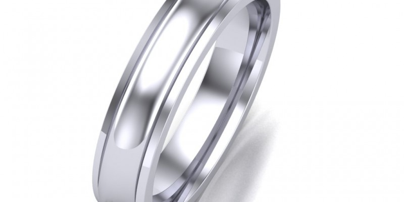 Gents WR8 White Wedding Ring