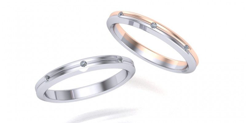 Ladies 18ct White and Rose Gold Wedding Ring