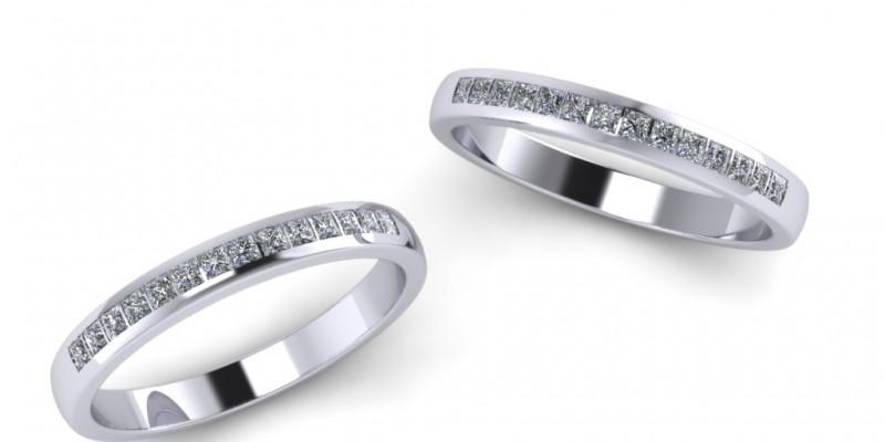 Ladies Channel Set Princess Cut Diamond Wedding Ring