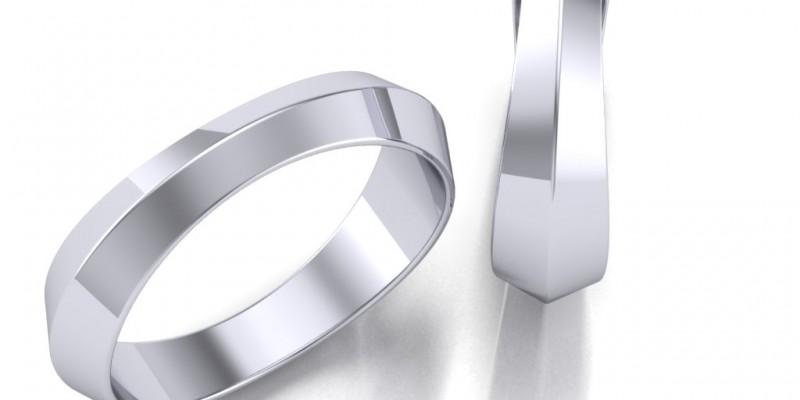Ladies Knife Edge 18ct White Gold Wedding Ring
