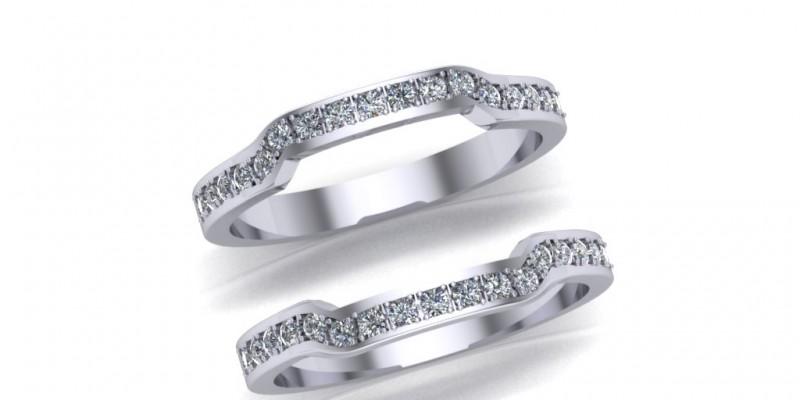Ladies Platinum Shaped Wedding and Eternity Ring