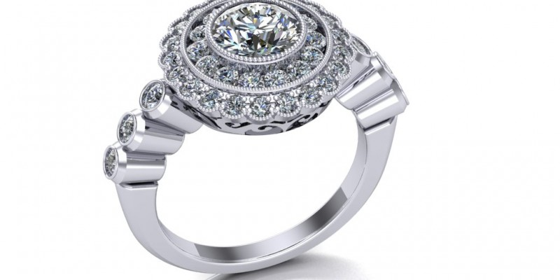 Platinum Double Row ClusterTarget Ring with Bezel Set Shoulders