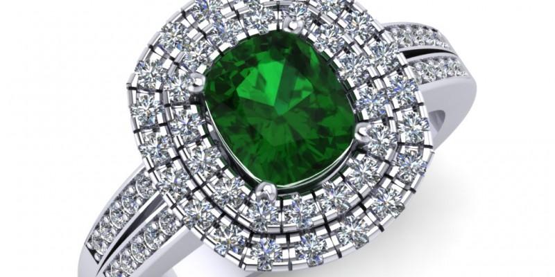 Platinum Emerald Cushion and Diamond Ring