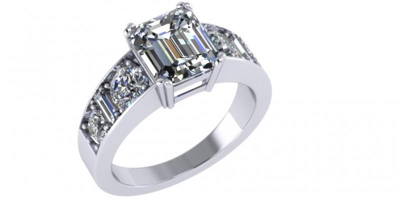 Platinum Emerald Cut Centre with Round Brilliant Cut and Baguette Diamond Ring