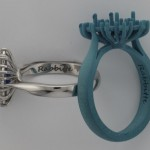 Rabbitte Sapphire and  Diamond Cluster Ring Wax and Metal