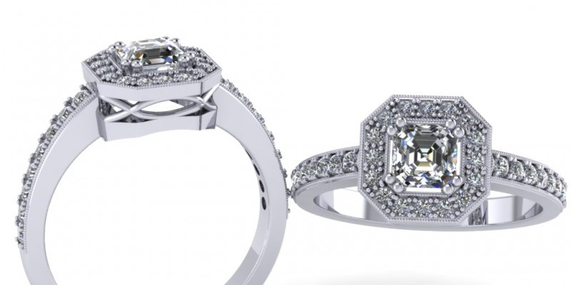 Platinum Radiant Cut Centre Diamond Ring Engagement Ring